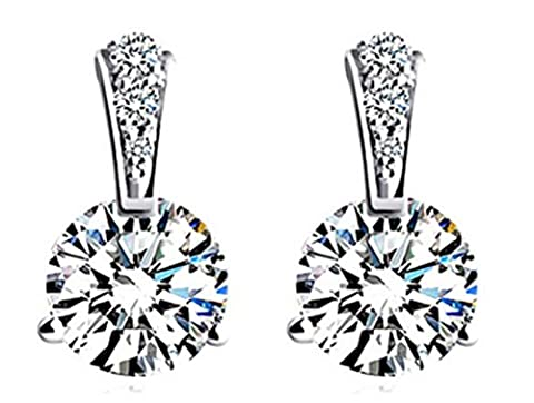 SaySure - S925 Silver Stud Earring New Fine Jewelry White CZ Crystal