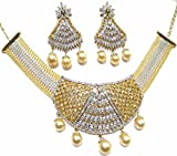 Shingar Jewelry ksvk Jewels Damen Feine American Diamant Look Halskette Set weiß gold