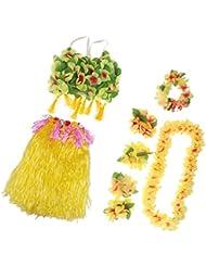 MagiDeal Set/8pcs Falda de Danza de Hierba Hula Hawaiana de Mujeres +Pulsera de Mano+Diadema de Pelo para Fiesta de Halloween Disfraz