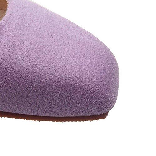 VogueZone009 Donna Tirare Punta Quedrata Tacco Basso Pelle Di Mucca Puro Ballerine Viola