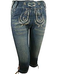 PAULGOS Damen Trachten Jeans in Optik Trachten Lederhose Kniebund Blau
