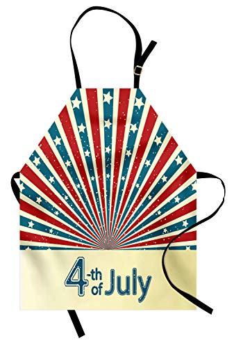 Abakuhaus 4. Juli Kochschürze, Retro Art-Sternenbanner Sunburst-Entwurfs-stolzer Tag der amerikanischen Nation, Farbfest Höhenverstellbar Waschbar Klarer Digitaldruck, Mehrfarbig