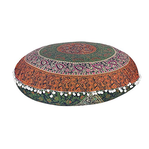 Galleria fotografica Cuscino per meditazione mandala Floor Pillow Seating cover hippie decorative Bohemian boho Indian by Labhanshi
