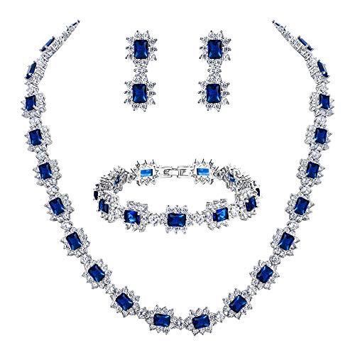 eit Braut CZ Multi Emerald Cut Halo Kragen Halskette Tennis Armband baumeln Ohrringe Set Sapphire-Farbe Silber-Ton ()
