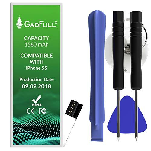 GadFull Batería de reemplazo para iPhone 5S | 2018 Fecha de producción | Incluye Kit de Herramientas Profesional de reparación Manual | Funciona con Todos los APN Originales
