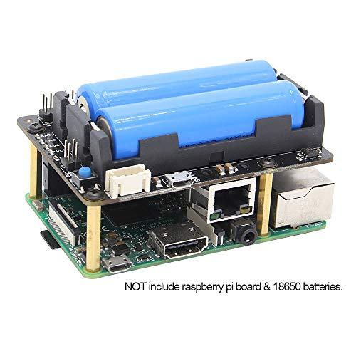 Geekworm Raspberry Pi 3 B+ / 3 Model B Safe Shutdown UPS HAT (18650 Battery Hat) Power Supply Management Expansion Board W/Wake on LAN(WOL) + RTC, X720 Module for Raspberry Pi 3 Plus/X820 SATA Board