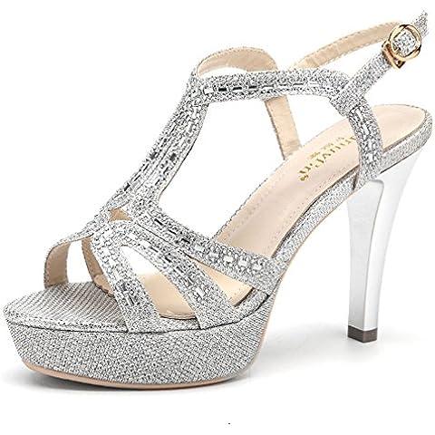 Pescados del verano del dedo del pie la cabeza hueca de material de las mujeres modernas con diamantes de imitación meseta súper zapatos de tacón alto sandalias de la hebilla Bombas