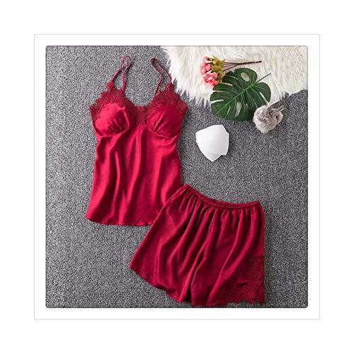 as Spaghetti Strap Silk Applique Satin Cami Top and Shorts Pajama Set with Padded Bra Summer Sleepwear Pajama Set DD tiepianPAD Wine XL ()