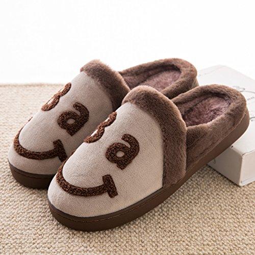 DogHaccd pantofole,Il cotone pantofole borsette con coppie di inverno di spessore inverno inverno pantofole di peluche home maschio carino antiscivolo scarpe caldo Il caffè