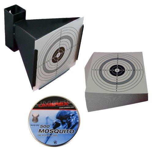 Trichter Kugelfang + 500 UMAREX MOSQUITO Diabolos Kaliber 4,5 mm / .177 + 125 ShoXx.® shoot-club Zielscheiben 14x14 cm mit zusätzlichen grauen Ring und 250 g/m²