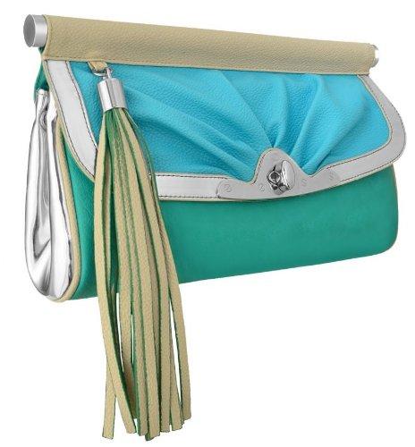 Rosella Damen Kunstleder Clutch Handtasche blau grün