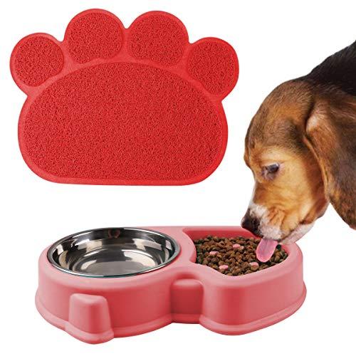 RCruning-EU Doppelnapf Hundenapf Fressnapf Katzenapf with futtermatten napfunterlage für kleine große Hunde Katzen - Rosa (Rosa)