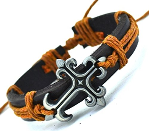 SaySure - Tibetan Cross Charms Alloy Black Genuine Leather (Black Tortoise Charm)