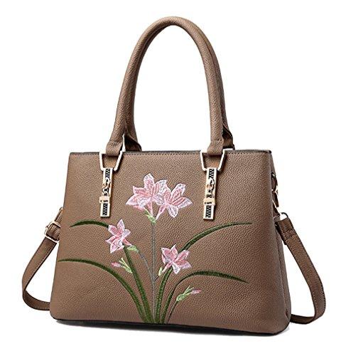 NUCLERL Designer Blume Damen Handtasche Damen Schultergurt Arbeitstasche Braun (Designer-handtasche Blume)