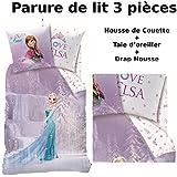 Reine Des Neiges–Juego de cama (3pcs)–Funda de edredón (140x 200) + funda de almohada (63x 63) + sábana bajera (90x 190)–100% algodón–Estampado cascada