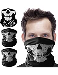 Migimi Crâne Poussière Protection Tubulaire Masque Bandana Moto Polyester Écharpe Visage Neck Warmer crâne squelette demi visage masque Bandana Col écharpe Rave masque noir