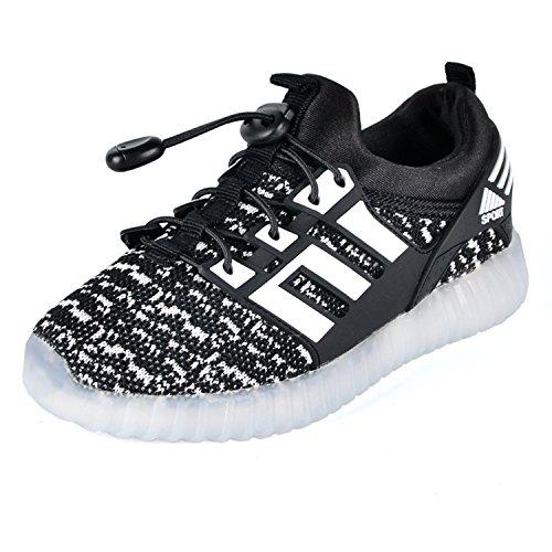 LED leuchtende bunte Sneaker Turnschuhe Unisex Kinder Jungen Mädchen USB Auflade Sportschuhe leichte Schuhe 1832 Schwarz