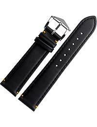 21mm Correa para reloj de piel auténtica bandas amarillo punto de hebilla de carpintero