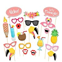 CCINEE 21 PCS Hawaiian Tropical Flamingo Photo Booth Props- Hawaiian Luau Wedding Photo Booth Props for Summer Party Fancy Dress Game Accessories