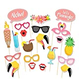 CCINEE 21 PCS Photo Booth Props- Hawaiian Luau Wedding Photo Booth Props for Summer Party Fancy Dress Game Accessories