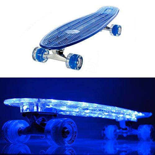 MAKANIH LED Skateboard mit Leuchtrollen, leuchtend, Stahl Kugellager Penny Style Longboard street cruiser beleuchtung LED Rollen retro cruiser - 1 Jahr Herstellergarantie (69 cm blau)