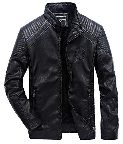 YYZYY Hochwertig Herren Vintage Herbst Winter Warm Kunstlederjacke Retro Leder Jacke Mäntel Mens Leather Coat Jacket Parka (EU/DE X-Large, Schwarz)