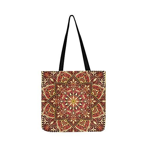 Vektor Verzierten Muster Floral Elemente Orientalischen Leinwand Tote Handtasche Schultertasche Crossbody Taschen Geldbörsen Für Männer Und Frauen Einkaufstasche (Zimmer Teppiche Für Teens)