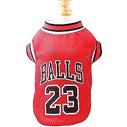 KayMayn - Camiseta de baloncesto con licencia para perro, incluye 3 tallas, para perros, ropa de fútbol, disfraz de perro, Copa nacional de fútbol, deportes al aire libre, verano, transpirable, color rojo, tamaño Small