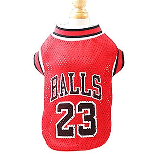 kaymayn Pet Jersey Basketball Lizenzprodukt Hunde Jersey, kommt in 3Größen, Hund Kleidung Fußball T-Shirt Hunde Kostüm National Fußball-Weltmeisterschaft, Outdoor Sportswear Sommer Atmungsaktiv M rot