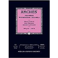 Unbekannt Bloc de Papel para Acuarelas de 23 x 31 cm, encolado, 300 g/m² (Satinado), 16 Hojas, Color Blanco, de Arches 1795099