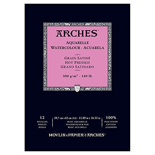 Bloc de papel para acuarelas de 29,7 x 42 cm, encolado, 300 g/m² (satinado), 12 hojas, color blanco, de Arches 1795099