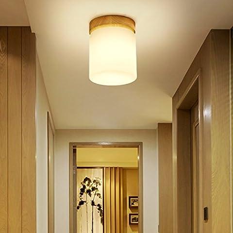 lilamins se encienden des Lumières du couloir chinois registres nordiques pour lampes de couloir Menuiserie japonaise Hyun Light des Lumières à la lumière du petit balcon, lumière de plafond rectangulaire petit 12cm 3W LED Blanc Chaud avec:
