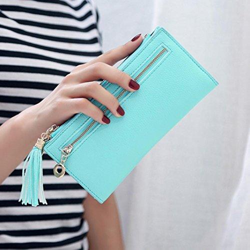 Portafoglio Donna, Tpulling Sacchetto della borsa del supporto della carta del raccoglitore della borsa della nappa della frizione delle donne (Green) Green