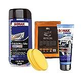 SONAX PoliturPflegeSet- Politur & Wachsfarbe NanoPro blau 500ml + Kunststoffgel 250ml + Polierschwamm + Mikrofasertuch I 5 TLG.
