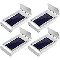 LE 4x Lampada Sensore di Movimento, 16 LEDs Pannello Solare Impermeabile