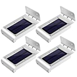 LE Solar LED Wall Light, Motion Sensor Waterproof Wireless Night Light, Outdoor 16 LEDs Security Light for Entrance/Pathways/Driveway/Garden/Deck/Yard, Pack of 4 Units