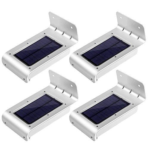 LE Zweite Generation 4er Pack 16 LEDs LED Solarleuchten Mit Bewegungsmelder, Wasserdicht, Kaltweiß, 6000 Kelvin, Kabellose Wandleuchten, Aussenleuchten für Tür, Flur, Wege, Terrassen, Garten, Fahrtweg, Solarbetriebenes Nachlicht, Außenwand, Outdoor