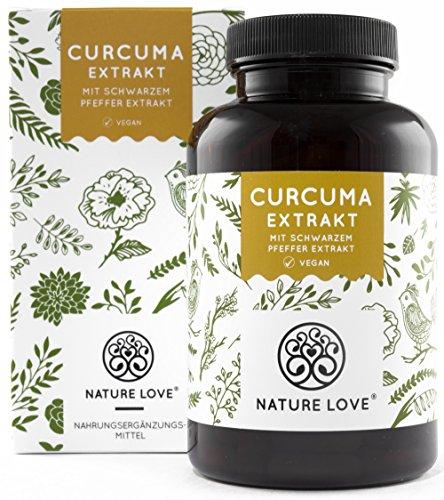 NATURE LOVE® Curcuma (Kurkuma) Extrakt Kapseln. 4500mg Kurkuma, Piperin und Curcumin 95% (entspricht ca. 20.000mg Kurkuma) pro Tagesdosis. Hochdosiert, vegan, hergestellt in Deutschland -