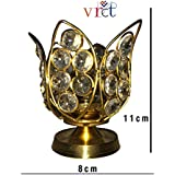 VRCT Akhand Diya Decorative Brass Crystal Oil Lamp Tea Light Holder Lantern Oval Shape | Puja Lamp (Medium) | Diya For Puja | Diya Holder Decorative | Diya Lamps For Pooja | Diwali Gifts And Decoration Corporate Gifts For Clients Friends | Diwali Items Fo