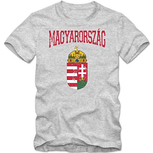 Ungarn Wappen T-Shirt   Magyarorszag   Republik Ungarn   Budapest   Herrenshirt © Shirt Happenz Graumeliert (Grey Melange L190)