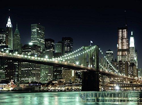 VLIES Fototapete MANHATTEN BRÜCKE-(412T) Inkl. Versand u. Kleister-PREMIUM-Photo-Tapete XXL Foto-Mural Bild Poster Insel Pferde Skyline Bach Manhattan Brooklyn Bridge Nordsee Terrasse Zen