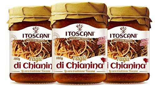 Ragù di Chianina IGP 3 Confezioni da 180 g - i Toscani - Agrifood Toscana, pomodoro, cipolla, carota, olio extravergine di oliva, senza glutine, senza conservanti aggiunti, italia