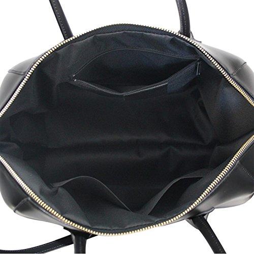 JENIFER Borsa a mano Bauletto in pelle liscia e semi rigida fatta in Italia nero