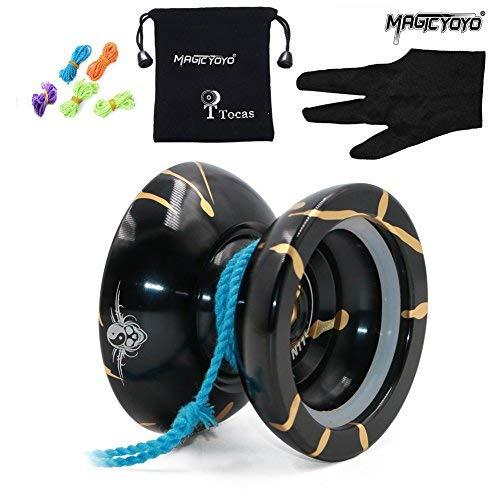 ewichtsring Pro Jojos Yoyos reagieren Nicht auf Yo Yo Metall Yo-Yos Kit Jo-jos Toy Trick Play (Schwarz & Golden) ()