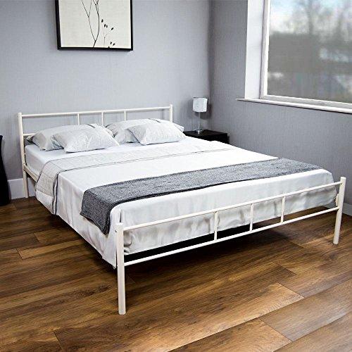 Generic o-1-o-6466-o bianco mobili per camera da letto Re Mode 4 FT6 135 cm  Oom pelliccia letto matrimoniale in metallo 6 135 cm moderno telaio in ...