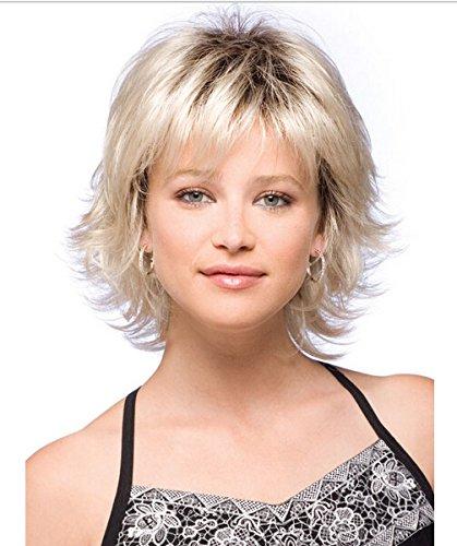 perruque de mode européenne et américaine Mme tailler perruque courte perruque synthétique de volume de fibre fil à haute température de gradient d'or
