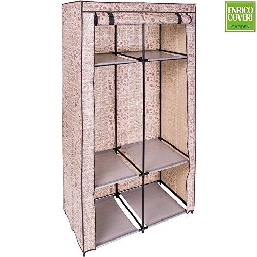 Platzsparende Schrank Kleiderschrank aus Stoff TNT 90x 46x 170cm beige Enrico Coveri, Gestell Stahl 4verstellbaren Regalböden (Chunk Stoff)