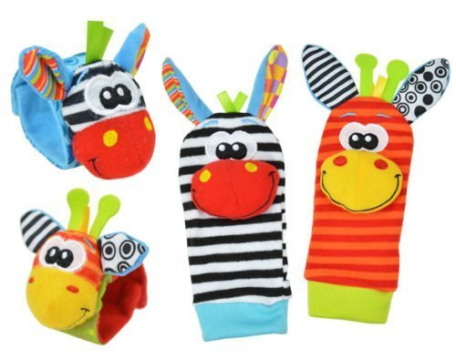 Cute Donkey Baby Wrist Foot Rattle Hand Kids Infant Watch Socks Soft Finder Toys by Sozzy