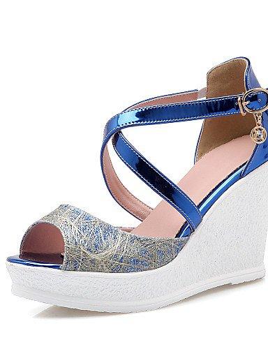 UWSZZ IL Sandali eleganti comfort Scarpe Donna-Sandali-Casual-Zeppe / Spuntate-Zeppa-Finta pelle-Blu / Argento / Dorato golden