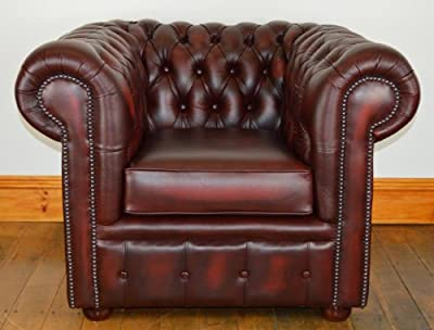 Chesterfield four piece suite in top quality antique Oxblood leather from Chesterfields Direct